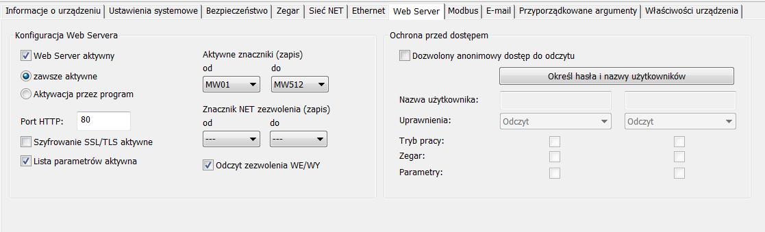 Konfiguracja ustawień webserwera