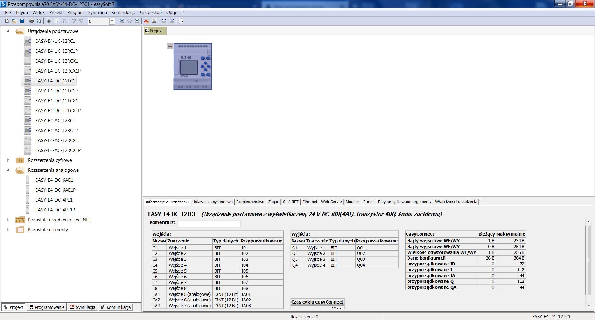 Okno projektu easySoft